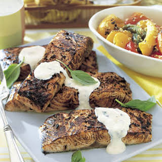 Grilled Salmon Fillets with Creamy Horseradish Sauce.
