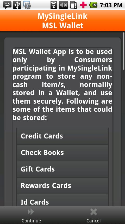MSL Wallet- screenshot