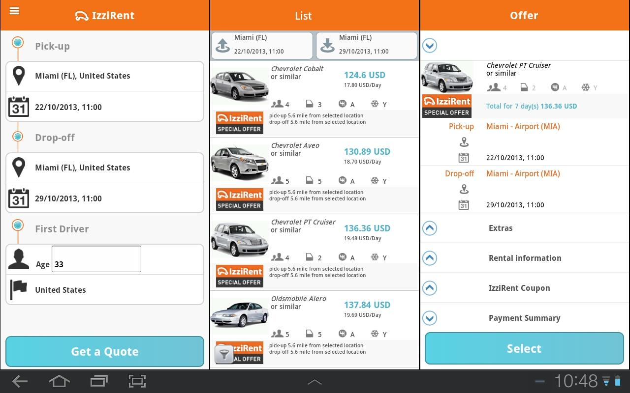 IzziRent Car Rental - screenshot