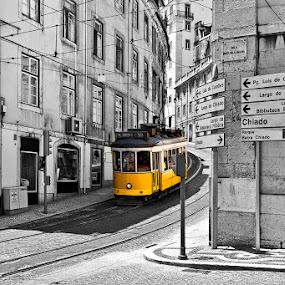 Tram #28 by Viktoryia Vinnikava - City,  Street & Park  Street Scenes ( blackandwhite, europe, 2013, selective color, street, tram, lisbon, yellow, portugal, 28, city, , pwc )