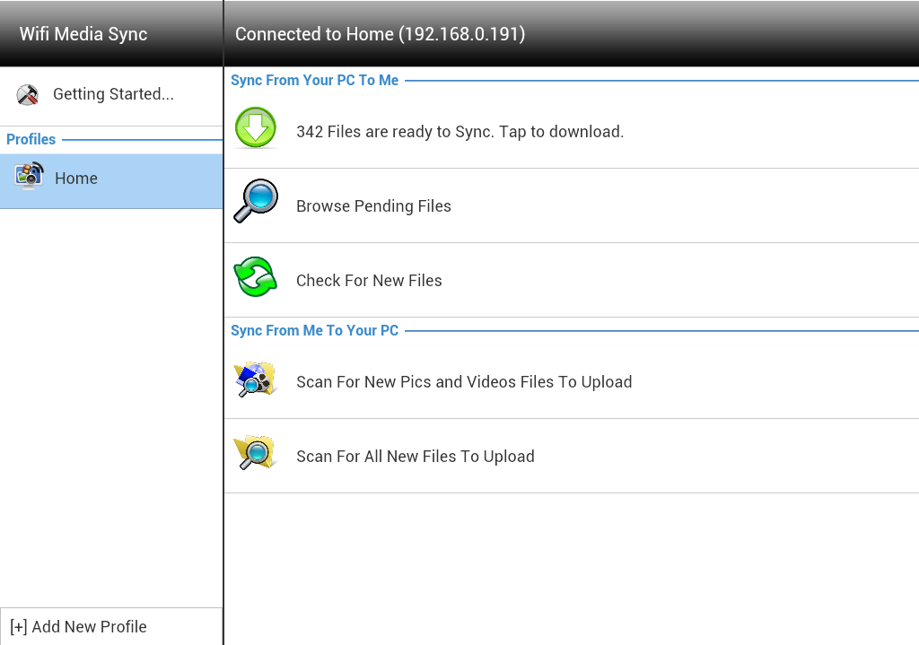 Wifi Media Sync:Tablet Edition- screenshot