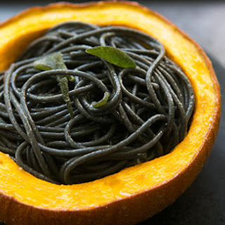 Squid Ink Pasta with Pumpkin, Sage and Browned Butter.