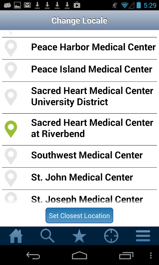 PeaceHealth MediLocator- screenshot