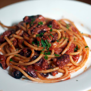 Bucatini with Rita's Spicy Baby Octopus Sauce