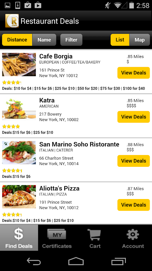 Restaurant.com - screenshot