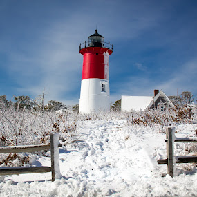 Nauset Light in Winter by Jim DeMicco - Buildings & Architecture Other Exteriors ( nauset light, winter, snow, lighthouse, cape cod )