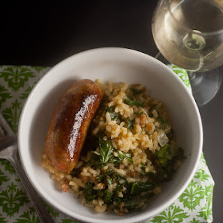Baked Risotto with Sausage and Kale.