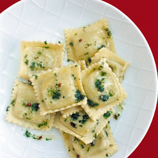 Red-Pepper and Herb Ravioli.