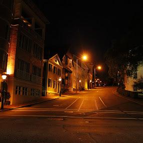 by Frank Gualtieri - City,  Street & Park  Street Scenes ( providence gold street night )