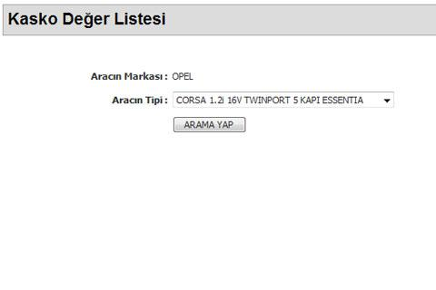 Kasko Deger Listesi - screenshot
