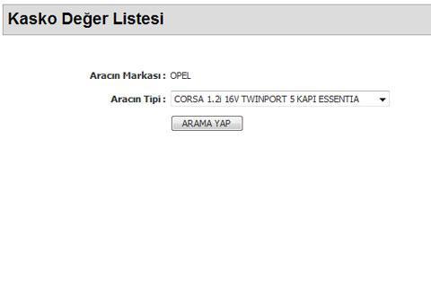 Kasko Deger Listesi - screenshot