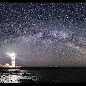 Lighthouse by Jörgen Tannerstedt - Landscapes Starscapes ( ottenby, milkyway, tannerstedt, stars, lighthouse, night, oland, astroscape, nightscape, galaxy )