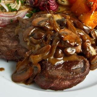 Steak Tenderloin in a Mushroom and Blue Cheese Sauce.