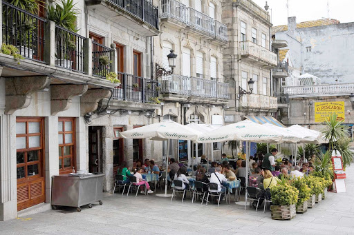 Berbes-Square-Vigo-Galicia-Spain - Local cuisine with a view of the marina in the heart of Vigo, located in Galician region of northwest Spain.