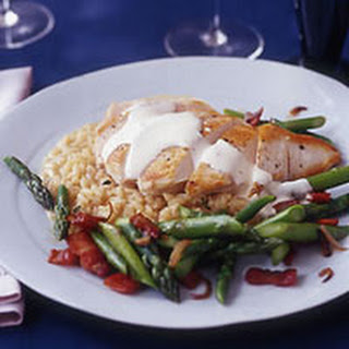 Lemon Cream Chicken with Champagne Risotto and Asparagus