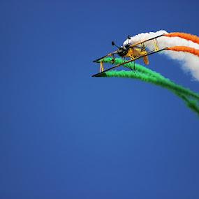 Indian Flag - Tri Color  by Guru Prasad - Transportation Airplanes ( flight, airplane, guru prasad, aircraft, air show,  )