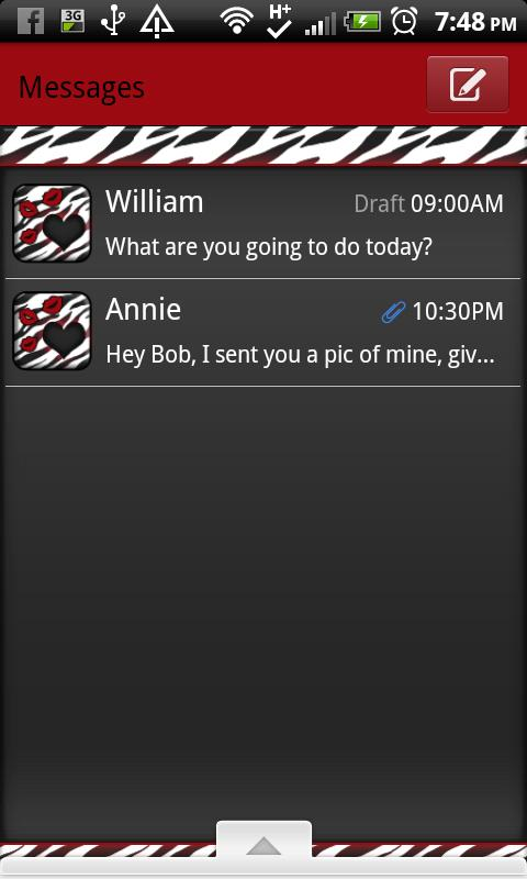 GO SMS THEME/RedZebra1- screenshot