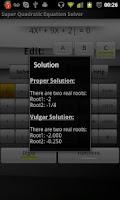 Screenshot of Quadratic Equation solver