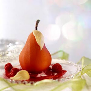 Poached Pears in Raspberry Sauce