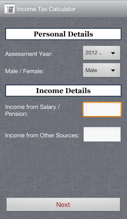Income Tax Calculator - screenshot