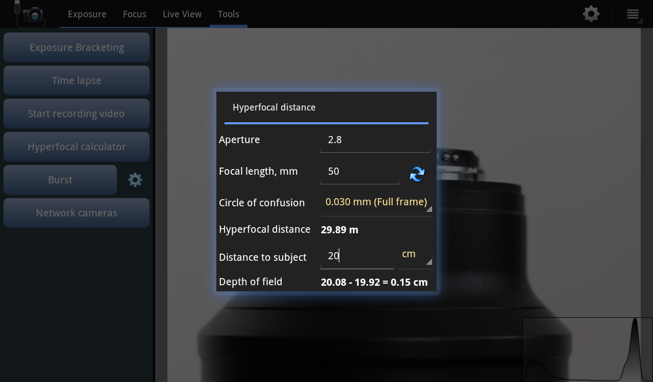 Helicon Remote – Screenshot