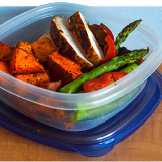 Grilled Chicken, Spicy Southwest Sweet Potato, Asparagus, And Bell Pepper Stir-Fry.
