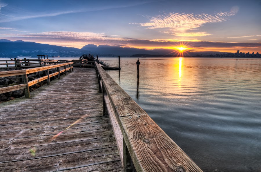 Ordinary Day by James Wheeler - Landscapes Waterscapes ( jericho beach, wood, relax, jetty, travel, recreation, dock, sky, travelling, pier, 2011, july, light, british columbia, canada, horizon, tourism, lake, dusk, picture, vacation, scene, meditation, tranquility, day, flare, reflection, colorful, tropical, reflections, ocean, beauty, landscape, vancouver, sun, coast, photography, dramatic, burrard inlet, nikon, ordinary day, clouds, water, peaceful, beautiful, romantic, d5000, sea, morning, photo, blue, sunset, outdoor, peace, summer, sunrise, landscapes, geotagged, river )