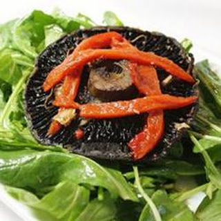 Roasted Portobello, Red Pepper, and Arugula Salad for One