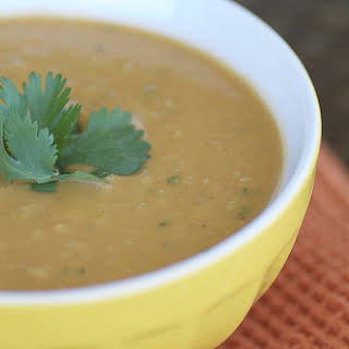 African Inspired Sweet Potato, Peanut, and Paprika Soup.