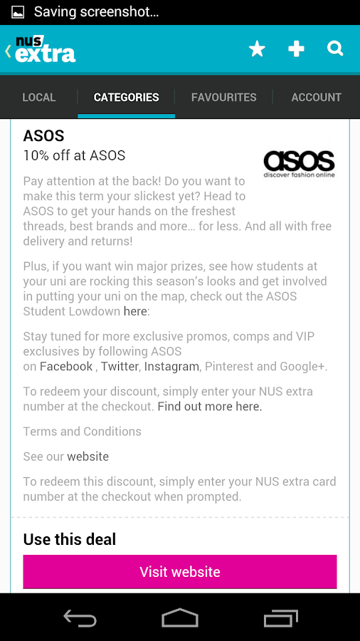 NUS extra - Student Discounts- screenshot
