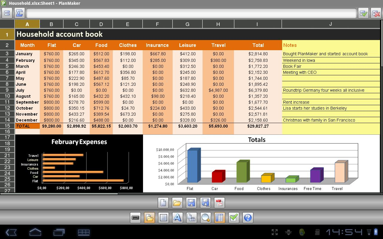Office 2012: PlanMaker Mobile - screenshot