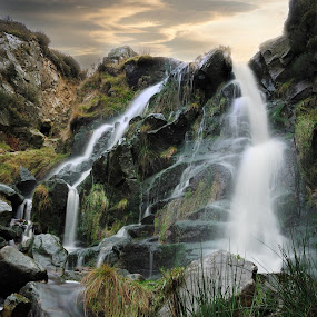 Flow by Darrell Evans - Landscapes Mountains & Hills ( water, stream, brook, grass, green, cliff, flow, landscape, close-up, close, nature, flood, outdoor, cliff-face, wet, bolder, rivulet, closeup, , #GARYFONGDRAMATICLIGHT, #WTFBOBDAVIS )