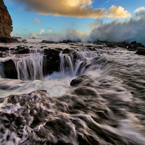 by James Bokovoy - Landscapes Caves & Formations ( kauai, pacific ocean, surf, blowhole, hawaii )