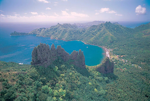 Hatiheu, a beautiful village on the northern shore of Nuku Hiva in the Marquesas Islands.