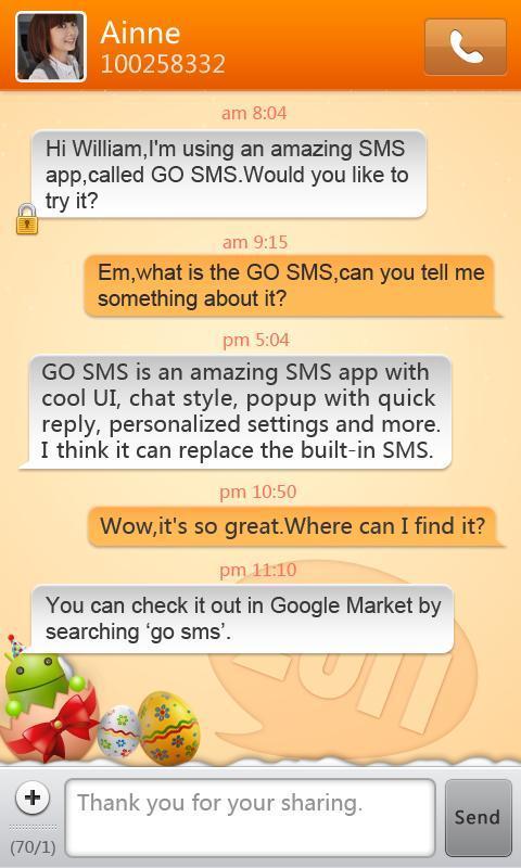 GO SMS Pro New Year - Orange screenshot #1
