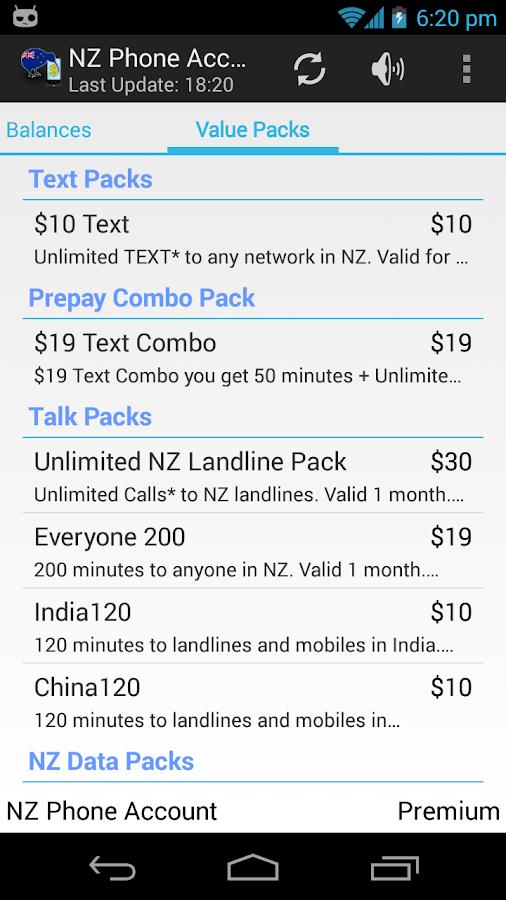 NZ Phone Account Widget - screenshot