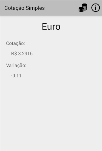 Cotação Simples - Dólar e Euro