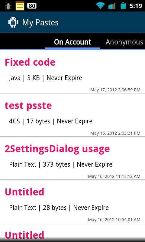 DroidPaste for Pastebin- screenshot