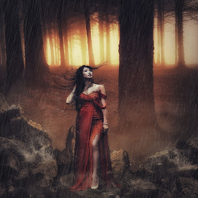 Lady in red by Karazy Shooke - Digital Art People ( portraiture, model, digital art, lady, people, digital, manipulation )