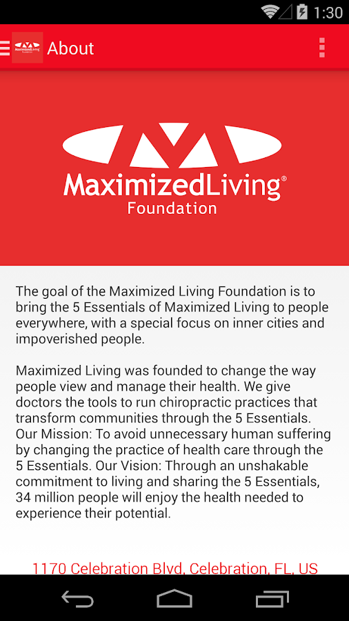 Maximized Living Foundation- screenshot