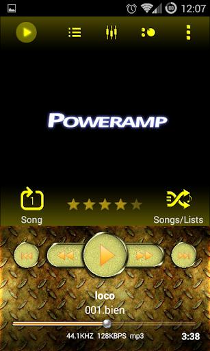 Poweramp Skin Yellow Metal