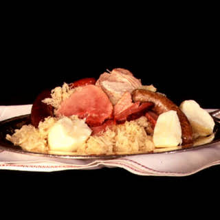 Sauerkraut Garnished with Smoked, Cured, and Fresh Pork.