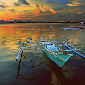 All Set by Joey Tomas - Transportation Boats ( nature, sunset, clouds., seascape, boat, colours )