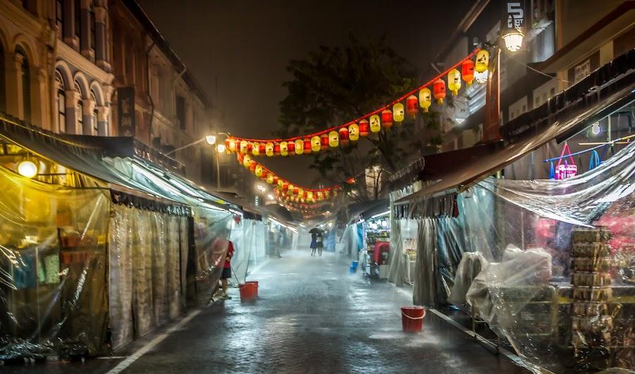 Raining Night Market by Charles Ong - City,  Street & Park  Street Scenes