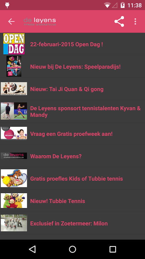 De Leyens fitness & racketclub- screenshot