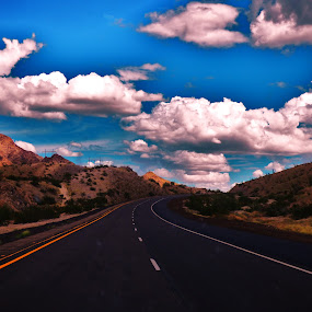 Shell be comin round by Brendan Mcmenamy - Novices Only Landscapes ( clouds, mountain, street, arizona, view )