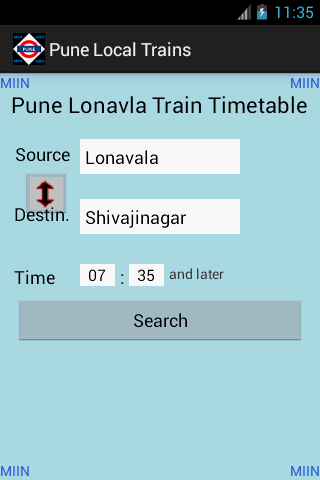 Pune Local Train Timetable - screenshot