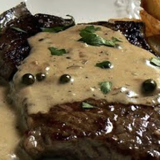 Beer-Marinated Steaks with Peppercorn Sauce.