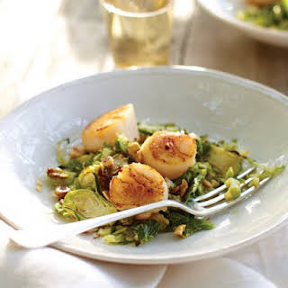 Seared Scallops with Roasted Brussels Sprouts and Hazelnut Vinaigrette.