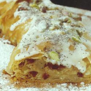 Iced Pistachio and poppy seed strudel